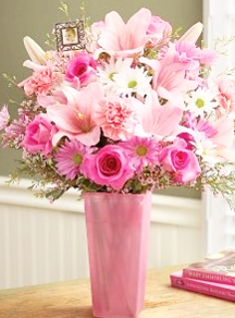 pink lily and pink rose bouquet with carnations | mother's day flowers online | the little flower shop florist