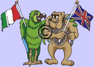 cartoon animals Italian parrot and British bulldog