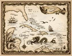 Hand drawn Caribbean Nautical Chart by Savanna Redman