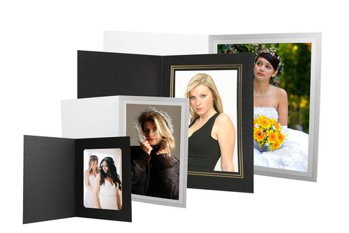 photo folders with foil imprinting in black champagne and grey