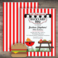red and white striped old fashioned backyard bbq birthday party invitations for him