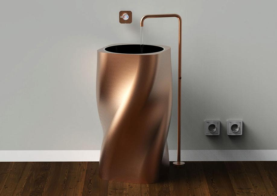 VERSO LAVABO IN RAME WASHBASIN COPPER MODELLAZIONE 3D MODEL PROJECT DESIGN107