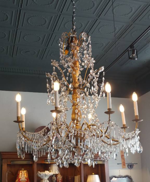 antique hand made crystal chandelier for sale at the House of Tuscany 8 arm light fixture gold body rewired like new