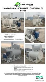 1.6 MBTU Hot Oil Heater for Asphalt Plants. Includes 3/4 HP Motor and Power-Flame Burner