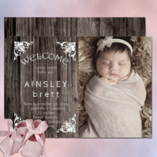 Rustic country faux wood with vintage scroll corner motifs landscape WELCOME photo baby girl birth announcement