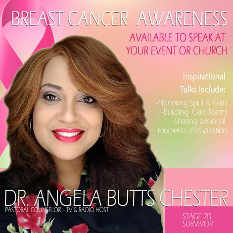 Motivational speaker Breast Cancer awareness Dr Angela Butts Chester