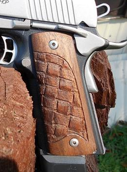 How to make custom carved wood Celtic basket weave designed pistol grips for a Kimber 1911. FREE step by step instructions. www.DIYeasycrafts.com