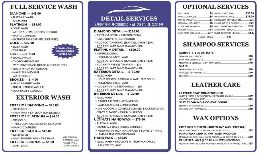 Car Detailing Prices >> Car Wash & Detailing Prices