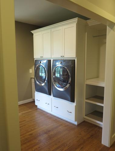 Front loading washer and dryer in built in cabinetry