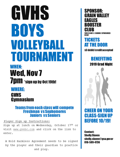 Grain Valley Boys Volleyball Tournament FLyer