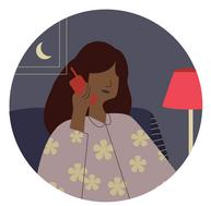 woman on the phone at night