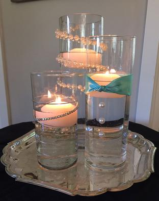 Pearls Around Cylinder Candles