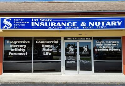 stoner insurance service store front, 1st State Insurance & Notary, Florida, Florida Notary, apply here to become a Florida Notary, Renew my Florida Notary