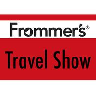 red and white logo of frommers podcast travel show logo, link to their website