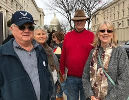 The Hawkins and the Hatfield's waiting in line to pick up our Inauguration tickets at Congressman Mark Meadows office.