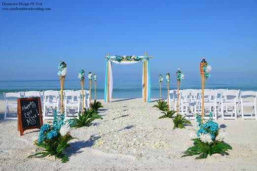 Teal Beach Wedding Ceremony in Florida