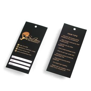 hair extension gold foil hang tag