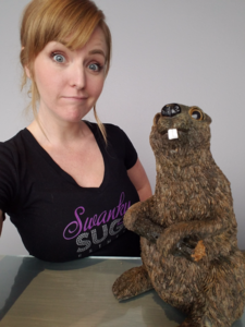 Rebecca Wells, owner of Swanky Sugar with our beaver mascot