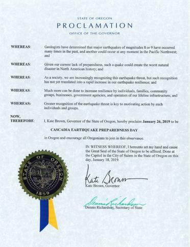 Cascadia Earthquake Preparedness Day Proclamation