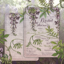 Wistfully romantic beautiful vintage wisteria two-sided bridal shower invitations in purple and lavender