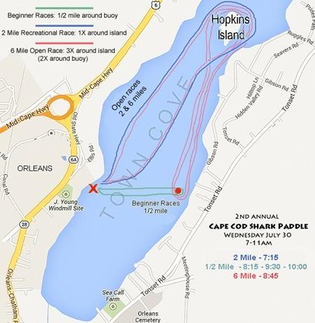 Cape Cod Shark Paddle Race Map