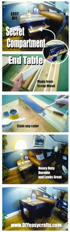 DIY secret hidden compartment end table. Step by step instructions. www.DIYeasycrafts.com