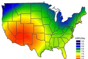 Solar KWh/Day Map USA