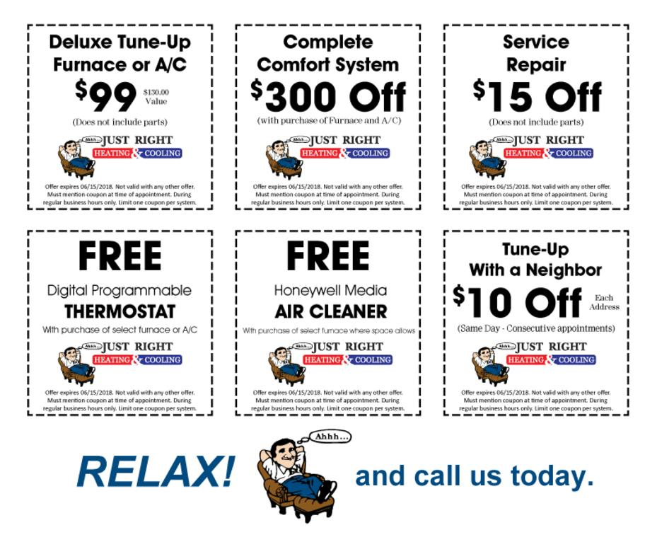 Clean and check, tune up, free thermostat, service repair savings