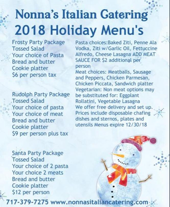 Holiday Menus 2018