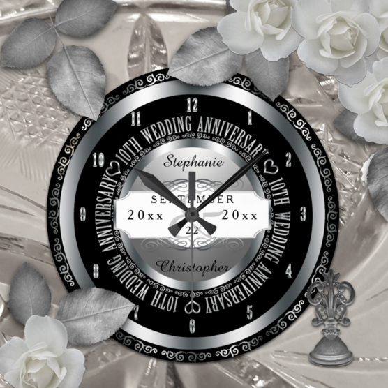 Silver tone 10th wedding anniversary acrylic custom designed clock which can be personalized with your names and wedding and anniversary dates