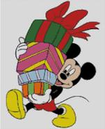 mickey mouse christmas xmas parcels presents Childrens cross stitch charts and patterns
