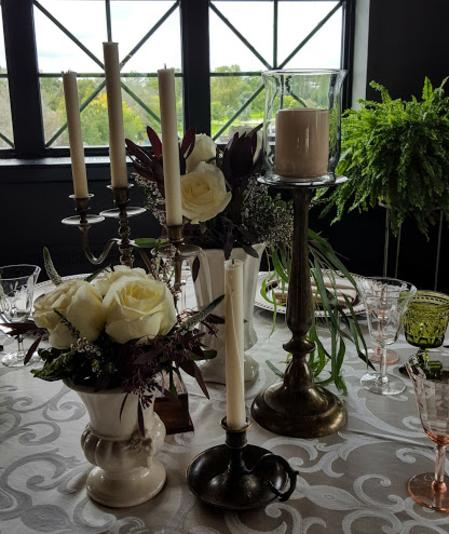Vintage Vases and Brass as Centerpiece