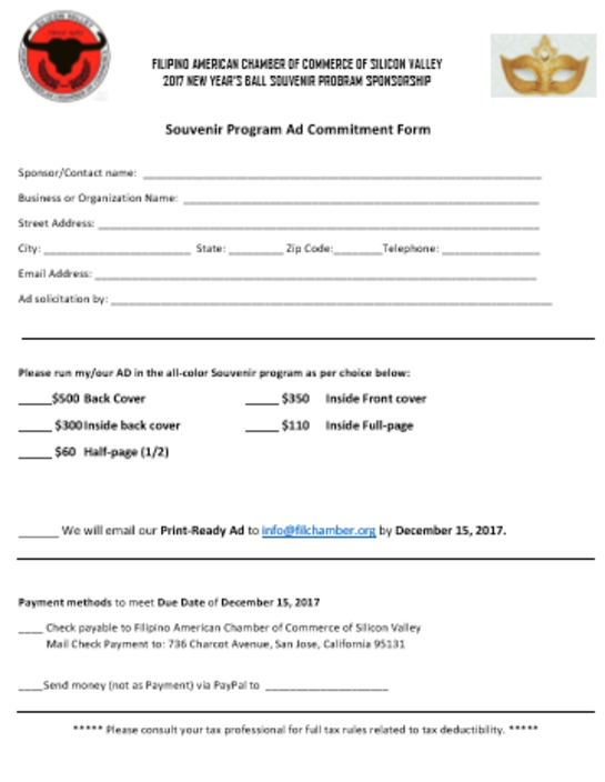 2017 Application Form-Sponsor and Table Open House