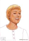Julie Andrews in THE SOUND OF MUSIC (color pencil on paper by CLIFF CARSON)