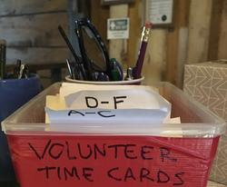 Colby's Army photo of the volunter time sheet box