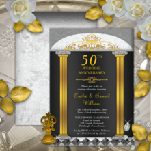 Elegant faux gold and black baroque columns 50th golden anniversary party invitations