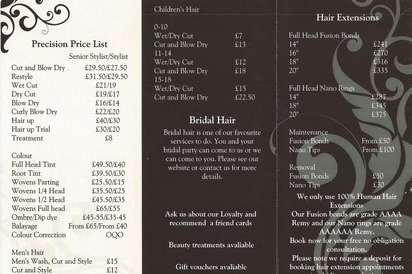 Precision Hair Salon Eastwood Rayleigh Essex Price List Services Menu