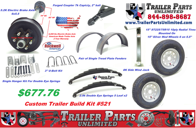 7000lb medium duty trailer kit 2 7k electric brake axles 4 heavy duty leaf springs 2 3 u bolt kits 1 tandem hanger kit 1 a frame coupler