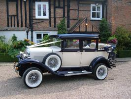 Badsworth Vintage style landaulette wedding car in blue and ivory - Essex Wedding Cars
