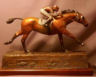 Bronze Thoroughbred racehorse sculpture Seabiscuit