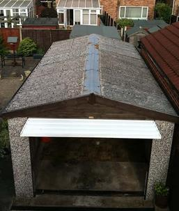 Garage in Bury with old style Asbestos Roof