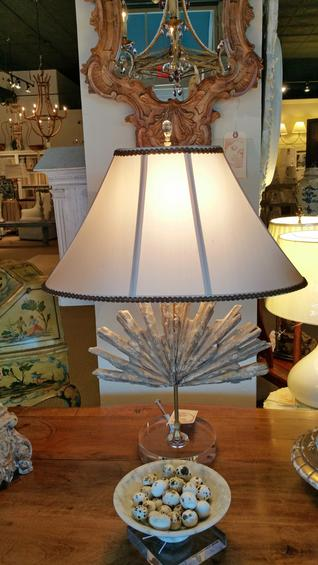 Italian antique relic vintage table lamp on glass lucite base authentic with a custom bespoke silk shade