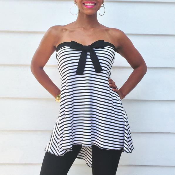 Strapless Striped Maternity Top, Black and White Stripe Top by LaDi with a BaBy