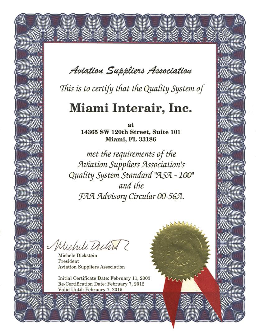 Certification asa 100 aviation suppliers association 1betcityfo Gallery