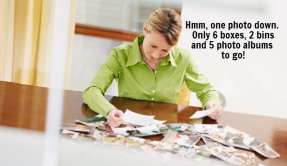 Woman organizing pictures