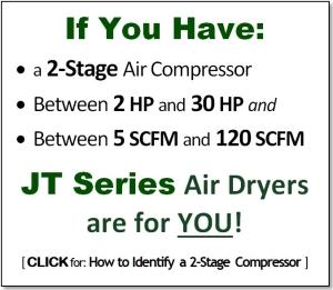 If you have a 2-stage compressor, 2 - 20 HP, between 5 and 120 SCFM, JT Series Air Dryers are for YOU!