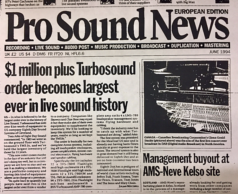 $1 million plus Turbosound order becomes largest ever in live sound history