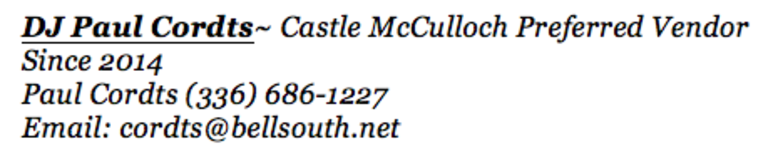 DJ Paul Cordts ~ Preferred Vendor Caste McCulloch