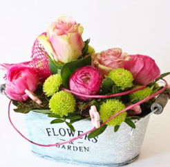 Pink Rose Arrangement in Bucket Vase