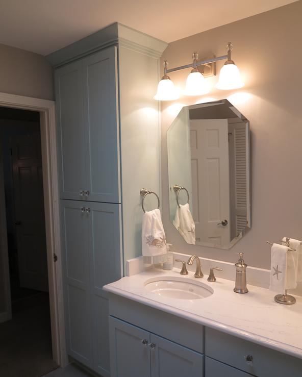 Double vanities help provide a spa like bathroom after remodel